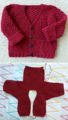 Boys Knitting Patterns Free, Baby Cardigan Knitting Pattern Free, Baby Sweater Patterns, Knitting Paterns, Knit Baby Sweaters, Knitted Baby Clothes, Knitting For Kids, Free Knitting, Baby Knits