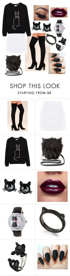 """""""Black Meow"""" by loveisablindwar on Polyvore featuring Bamboo, Topshop, Charlotte Russe, Betsey Johnson and Kate Spade"""