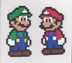 Set of 2 Mario and Luigi magnets Hama Beads Mario, Perler Beads, Fuse Beads, Perler Bead Designs, Easy Perler Bead Patterns, Perler Bead Templates, Hama Beads Design, Mario Bros Y Luigi, Super Mario Bros