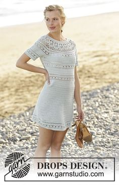 Grace in Lace dress with round yoke and lace pattern, worked top down by DROPS Design. Free Crochet Pattern