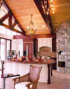 wood burning oven and fireplace in the kitchen