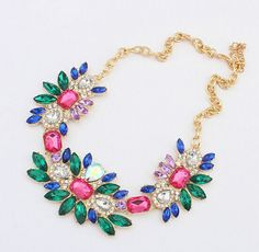 New Luxury New Mixed Multi Color Crystal Rhinestone Bib Statement Necklace Party #Handmade