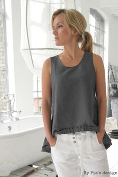 BYPIAS Linen Top With Frill / @bypiaslifestyle www.bypias.com
