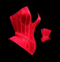 Red silk corset with hip flares, for Roxi Dlite 2013/14