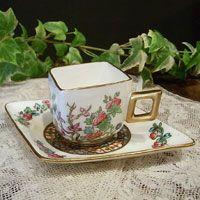 Square tea cup set-Coalport Indian tree