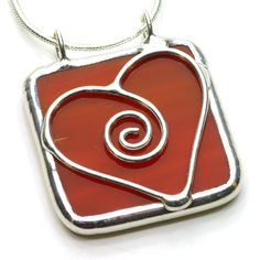 Red Sweetheart  Stained Glass Pendant by BeckySharpDesigns on Etsy, $20.00
