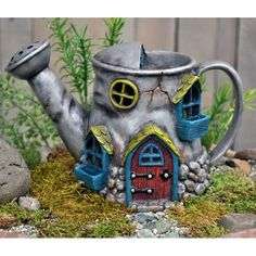 Miniature Garden Fairy House Old Watering Can in Outdoor Gnome Hobbit Cottage Fairy Crafts, Garden Crafts, Mini Watering Can, Watering Cans, Clay Fairy House, Fairy Village, Clay Fairies, Fairy Furniture, Resin Furniture