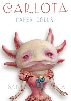 Carlota    PAPER DOLL   articulated axolotl  10.2 por SandraArteagA, $15.00