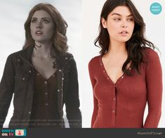 Clary's red henley top and brown field jacket on Shadowhunters.  Outfit Details: https://wornontv.net/65704/ #Shadowhunters