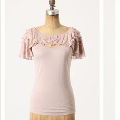 """Anthropologie - Deletta Ruffle tee Anthropologie - Deletta - Ruffled Cape Tank - I purchased this several years ago from Anthro & wished it would fit me someday. Still doesn't :-(  Mines the blue...NWOT - pit to pit 16"""", 27"""" length - SZ M Anthropologie Tops Tank Tops"""