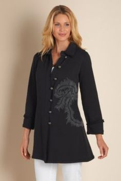 Saturday Jacket I - French Terry Jacket, Mid Thigh Jacket | Soft Surroundings