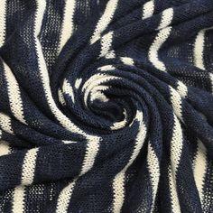Stripe Navy Sweater Knit Fabric White Navy Blue by StylishFabric cardigan