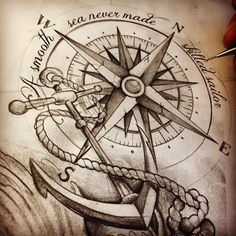 compass anchor tattoosketch