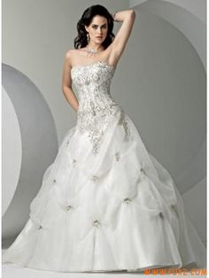 Strapless Embroidery Satin Organza Wedding Dresses 2012 Pick...