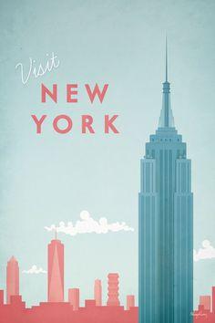New York Poster, New York Trip, New York Travel, Vintage New York, Posters Decor, Design Posters, Art Mural, Wall Art, Framed Art