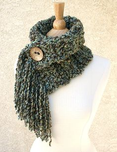 ~★~ ON SALE ~★~ MOCHA SKY COWL with Fringe & Coconut Button by www.BehindMyPicketFence.com