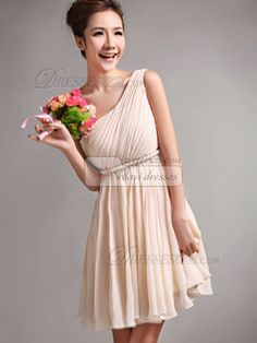 A-Line One Shoulder Draped Short Champagne Bridesmaid Dresses - US $79.05