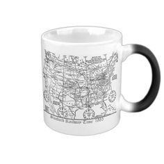 Standard Railway Time Zones 1883 Coffee Mugs; $23.95 - #stanrail -  Morphing Mug, A truly unique mug. When it's cold, it's just a simple black mug. When you add any hot beverage (water, tea, coffee, etc.), your mug turns white and the image comes to life in vibrant colors. 11 oz. Hand wash only. Imported. Standard time in time zones was instituted in the U.S. and Canada by the railroads on November 18, 1883. #stanrails_store