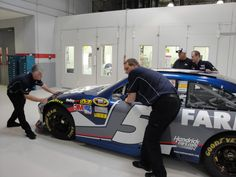 The Farmers Insurance team getting the No. 5 Chevrolet ready for Michigan International Speedway.