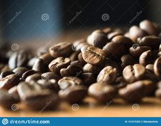 Coffee beans on the table.. Photo about fresh, brown, roasted, beverage, restaurant, cafe, latte, dark, sign, bean, breakfast, background, food, caffeine, vector, black - 141672202