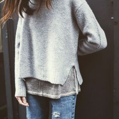 Grey / cream jumper . Long sleeved top / tshirt . Jeans