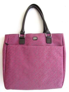 Tommy Hilfiger Large Tote with Patent Leather-like Trims, Pink Tommy  Hilfiger,http