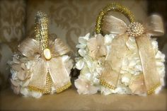 flowergirl baskets champagne & gold - Google Search