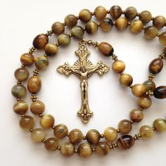 Golden Tiger Eye Catholic Rosary Semi Precious by GloriaRosaries