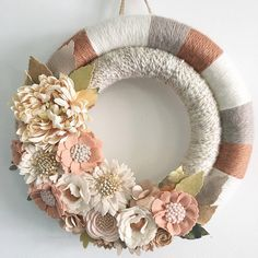 Ivory latte and pumpkin double yarn wrapped by wiltedrosewreaths