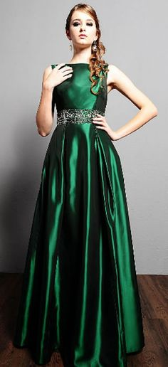 Modest Forest Green Prom Dress 2014 Long Cap Sleeves with hand ...