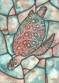 SEA TURTLE 5 x 7 print of detailed watercolour artwork, shell with intricate lace work patterns jewel tones, stained glass acid wash tie dye Watercolor Artwork, Watercolor Cards, Sea Turtle Art, Turtle Pattern, Earth Tone Colors, Fish Art, Aboriginal Art, Beach Art, Sea Creatures