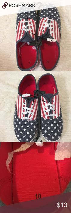 New Sz 10 USA Lace Up Shoe New Canvas Upper Balance Man Made Casual Women's Sz 10 Red White Blue with Stars Boutique Shoes