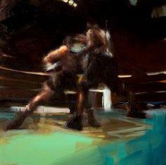 © Jérôme Lagarrigue, série Boxing: Collision Sequence # 3 (frame 1), huile sur toile, 50x50 cm, 2007