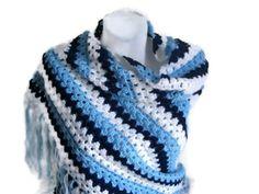 Handmade Shawl  Blue White Dark Blue Shawl  by karmaistanbul
