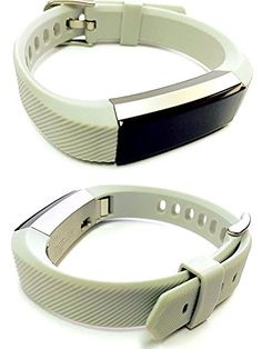BSI Set 2 Grey Classic Accessory Bands For Fitbit Alta Activity Tracker Adjustable Silicone Design Straps With Metal Buckle Clasp. For Fitbit Alta ONLY. Tracker not included. Replacement fitness wristbands that match the quality of the original but with better belt buckle type fastening for more secure and comfortable fitment on your wrist. Wear it during exercise or casual social events to complement your fashion style, look and mood. Weighs only around 1 oz (28 grams) with tracker…