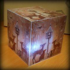 """""""Valolaatikko""""  Tulostettu kuva, laminoitu, teipattu sitten yhteen kuutioksi. Led-tuikku sisälle."""