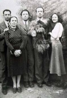 Poets Louis Aragon, b. 1897 Paris, France;  Andre Breton b. 1896 Tinchebray, France;  and Paul Eluard b. 1895 St. Denis, France; (from left) with Elsa Triolet Aragon and Nusch Eluard.  All were Surrealists