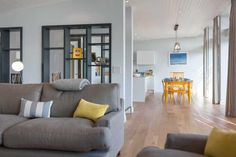 Watergate Bay contemporary holiday let at the Village in North Cornwall with sea views and a large balcony Cornwall Beaches, North Cornwall, Lounge, Ceiling Lights, Interiors, Contemporary, Living Room, Kitchen, Home Decor