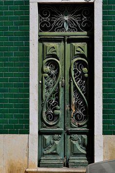 Green door in Faro, Portugal photo by sarouchk, via Door Knockers, Door Knobs, Door Handles, Cool Doors, Unique Doors, Portal, Algarve, When One Door Closes, Grand Entrance