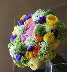 Yellow, green and pink bouquet.