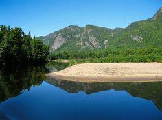 relfective waters at the Parc National des Hautes-Gorges-de-la-Rivere-Malbaie, a UNESCO Bioreserve in Charlevoix, Quebec. Parc National, National Parks, Charlevoix Quebec, Malbaie, Gros Morne, Hiking Trips, Newfoundland, Canoe, Natural Beauty