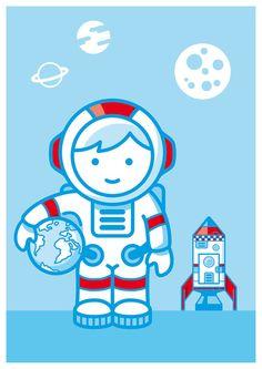 Kinderzimmerbild Astronaut A4 von JungsundSoehne auf Etsy