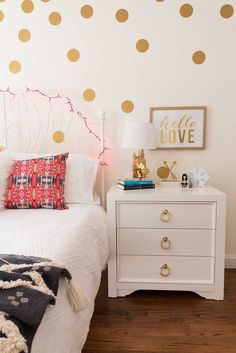 teen girl bedroom - pink, white, and gold
