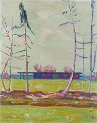 Bungalow im Garten Portrait, Bungalow, Painting, Switzerland, Mountain Landscape, Winter Landscape, Auction, Artworks, Art Production