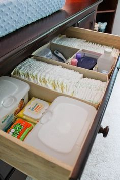 Dresser Diaper Storage--looks like they used shoe boxes?