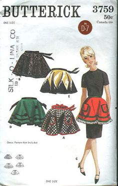 Sexy Vintage Apron for entertaining Butterick Pattern 3759 Vintage Apron Pattern, Aprons Vintage, Vintage Sewing Patterns, Clothing Patterns, Apron Patterns, Cute Aprons, Linen Apron, Sewing Aprons, Half Apron