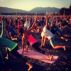 Does it get much better than sunset beach yoga? #SeaWheeze