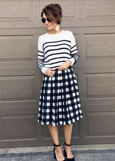 stripes, plaid, and leather earrings