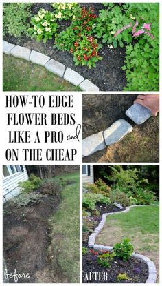 Perfect Border for your Beds: Defining a gardens edge with inexpensive stone that fit any shape or size garden bed. Details @ The Perfect Border for your Beds: Defining a gardens edge with inexpensive stone that fit any shape or size garden bed. Lawn And Garden, Garden Beds, Sleepers Garden, Railway Sleepers, Garden Leave, Porch Garden, Small Backyard Landscaping, Inexpensive Landscaping, Mulch Landscaping