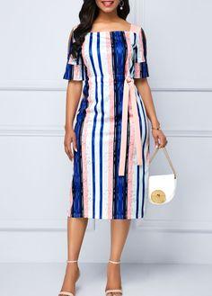 ad8625406b Bowknot Detail Flounce Sleeve Striped Dress | Rosewe.com - USD $32.64